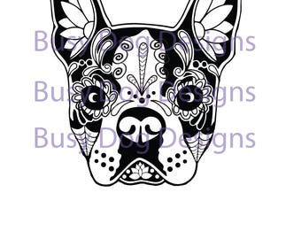 Boston Terrier Sugar Skull decal.  Perfect for windows, cars, office, home decor and more.  Permanent decal