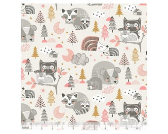 "Cotton print ""Sweet Dreams"" by Maude Asbury by Blend Fabrics x25cm forest animals"