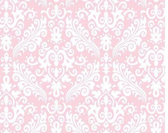 Baby Pink Medium  Damask - Baby Pink Hollywood c830 75 - High Quality Fabric RBD Designers - Baby Pink Fabric - Girl Fabric - Sewing Fabric
