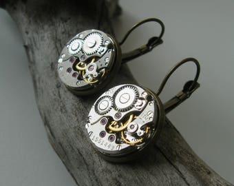 Steampunk earrings Steampunk jewelry Womans earrings Industrial earrings Gift idea Watch jewelry Burning man jewelry Dangle earrings