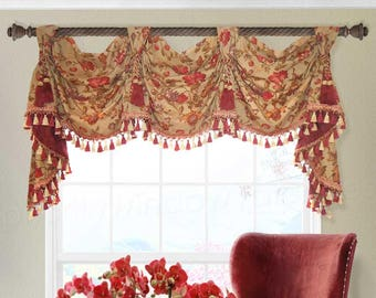 "Red Yellow Victory Swag Patriot Custom Valance 52"" to 58"" Wide Khaki Red Amber Olive Green Floral with Tassel Trims Jabots"