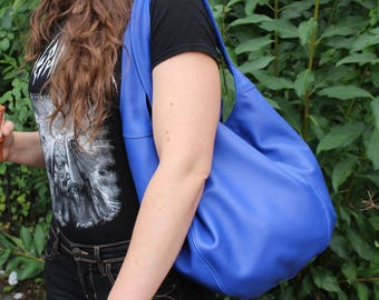 Leather bag large Royal Blue