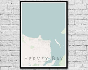Hervey Bay QLD City Street Map Print | Wall Art Poster | Wall decor | A3 A2