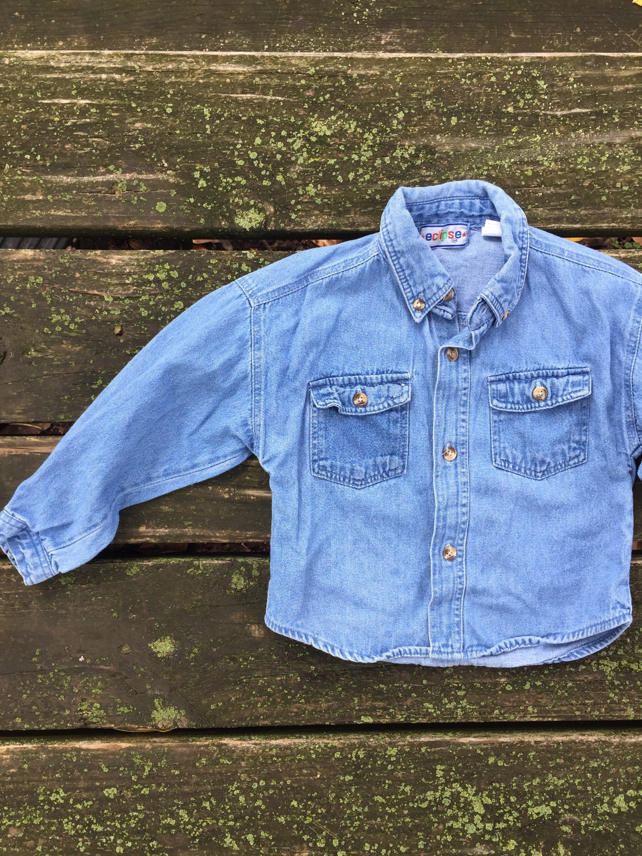 Vintage 24 Months Shirt Button Down Blue Jean Denim Baby Toddler