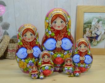 Hand painted matryoshka, Gift for daughter, Russian nesting doll, Birthday gift, Art dolls, Hand made babushka, Wooden stacking dolls,