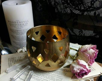 Vintage Cut-Out Polished Brass Cauldron Candle Holder / for incense, candles, spell casting / wicca or pagan altar decor