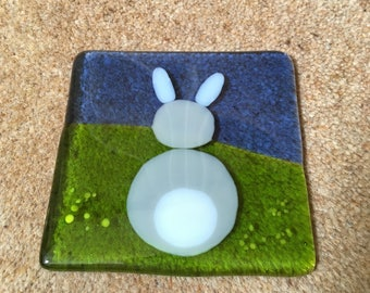 Fused glass Rabbit Coaster
