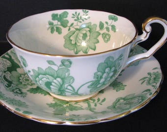 SPRING SALE 1920s Teacup and Saucer Victoria Mandarin Chintz Cup and Saucer Green Floral