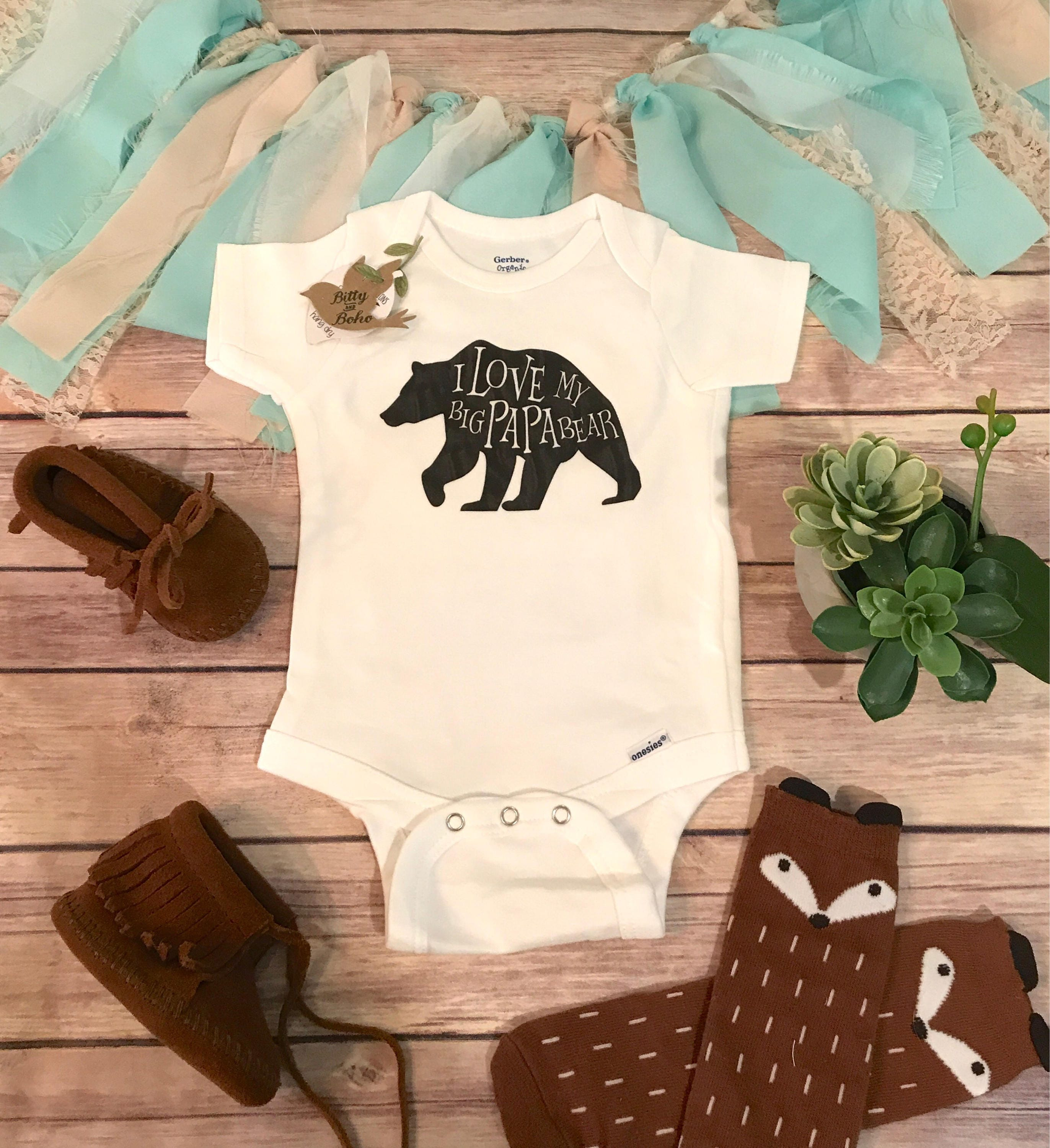 I Love My Big Papa Bear Onesie 174 Fathers Day Gift From Baby