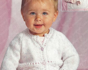 PDF Instant Digital Download baby childs cardigans & blanket knitting pattern 16 to 26 inch (382)
