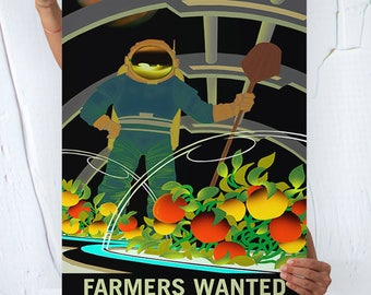 Nasa Mars ( FARMERS WANTED ) - Travel Poster