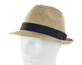 """Upcycling Hat Trilby hat """"Café Corretto"""" from coffee sack - motif """"plain""""(Blanco) (size: 60 cm) """""""
