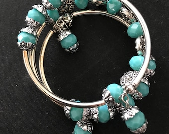 Turquoise Blue memory wire bracelet