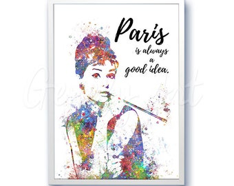 Breakfast at Tiffany's Quote Watercolor Art - Audrey Hepburn Art - Artwork- Painting - Illustration - Home Decor - Wall Decor - Wall Art