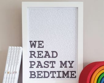 We Read Past My Bedtime - Bedtime Stories Print -  Literary Wall Decor -  Nursery Wall Art - Bedtime Story Print - Childrens Stories