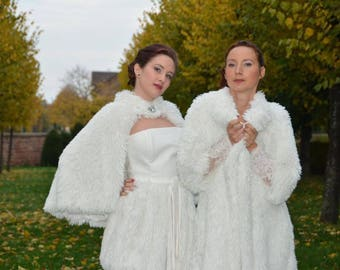 Faux fur coat, perfect for winter wedding