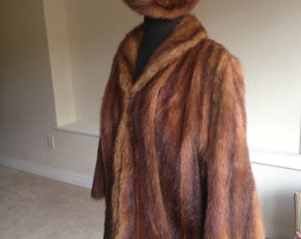 Vintage Muskrat Fur Coat Jacket Matching Fur Hat 1940
