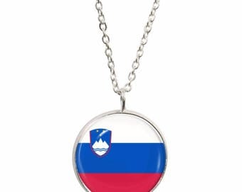 Slovenia Flag Pendant and Silver Plated Necklace