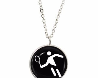 Olympic Tennis Pendant and Silver Plated Necklace