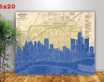 Detroit Skyline Poster, Detroit Art Print, Detroit Decor, Detroit Map Canvas, 16x20 Canvas Detroit Gift, Wedding Engagement  Established