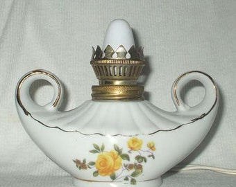 Vintage Genie Lamp Japan Signed Wales Porcelain Works Great