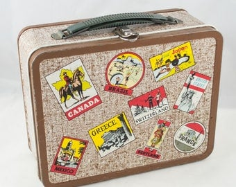 Vintage Metal Lunch Box With Travel Stickers Made by the Ohio Art Company, Toy Suitcase, Lunch Box Collectible, Retro Decor