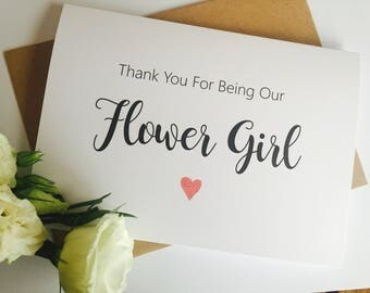 Thanks for being our Flower girl Card, Thank you card, wedding thank you card, Flower Girl Card, Wedding party Card