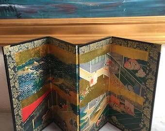 Antique Japanese Paravan, , BYOBU Japanese Art, Mini Japanese Four Panel Folding Screen- Free Domestic and International Shipping