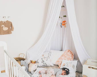 Kids Play And Bed Canopy White Organic Cotton Hanging Tent Upper Part Canvas Fabric