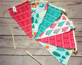 Christmas Scandinavian Bunting, Double Sided Luxury Pennants, Festive Decor, Holidays/Home Decor, Festive Bunting 1.2m/1.7m long