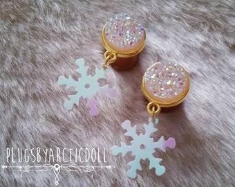 Pair of plugs 10mm iridescent snowflakes