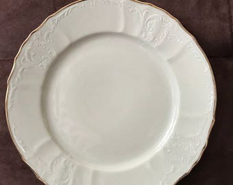 "Baum Bros* Formalities**Bernadette Ivory* 11.5"" Round Platter/Dinner/Chop Plate With Gold Trim Edge*"