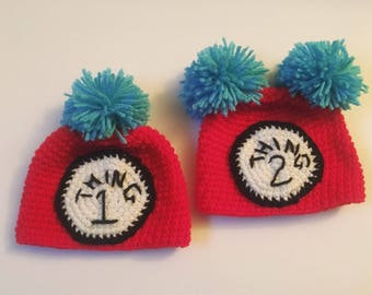 Thing 1 and Thing 2 Twin Baby and Toddler Crochet Hats