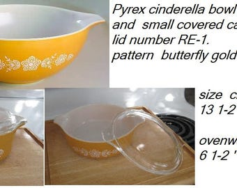Pyrex Gold Butterfly set-1970-mxing bowl 444 and small covered casserole