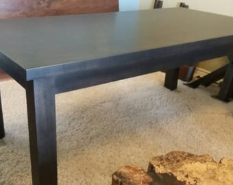 Gorgeous, Sleek, and Modern Solid Maple, Charcoal Stained, Dining Table with TWO Extensions