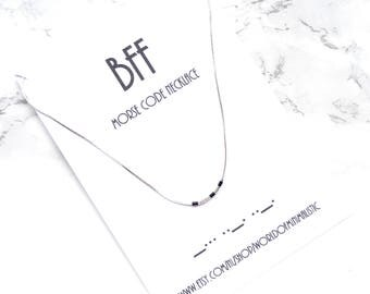 BFF morse code necklace, morse code choker necklace, Best friends gift, custom morse code jewelry, dainty minimalist necklace, thin necklace