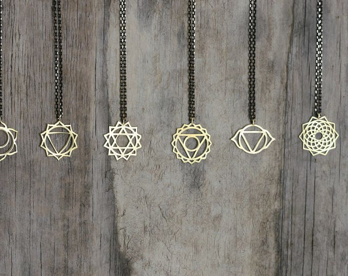 Brass Chakra Symbol Necklace | Spiritual | Yoga Necklace| Meditation | Black & Gold