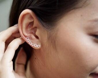 Hearts Ear Creeper, Silver Ear Climbers, Boho Jewelry, Simple Earrings, Romantic Earrings, Simple Earrings, Modern  Gift For Her (E78)