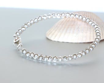 Sterling Silver Bangle- Silver Beads Bangle-Gift Jewelry-Delicate Bracelet- Faceted Beads Bangle-Hand Jewelry-Silver Bangle-BS 31
