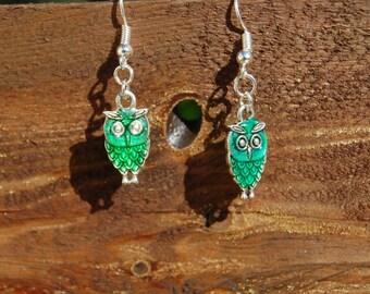 original green epoxy enamel OWL earrings