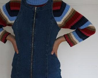 Vintage 70s-90s Mini Denim Dress with Front Zip