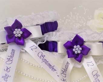 Personalised Wedding Garter. Ivory or white lace with cadbury purple satin trim.Personalised with names, date & 'something blue' added