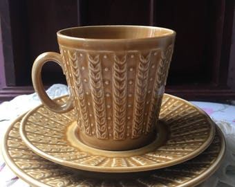 Sale !!! Rare TAMS England  knitted effect coffee trio