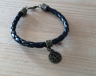 Bracelet braided black synthetic leather men and women