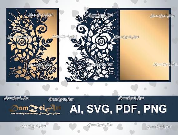 5x7 u0026 39  u0026 39  roses wedding invitation card laser cut template