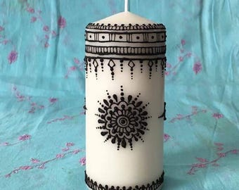 Henna Candle-Handmade decorated Candle-Home Decor-Pillar Candle-Henna Decorated Candle-Henna art- Henna Ideas-Gift