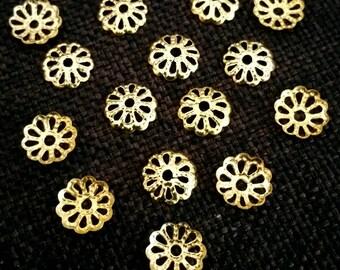 Set of 20 gold metal filigree cups