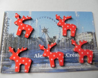 CHRISTMAS! 5 reindeer NOEL2 cm of red with white polka dots
