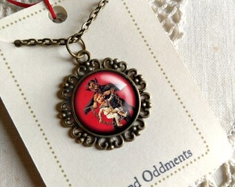 Krampus necklace-  Krampus with child by the ears