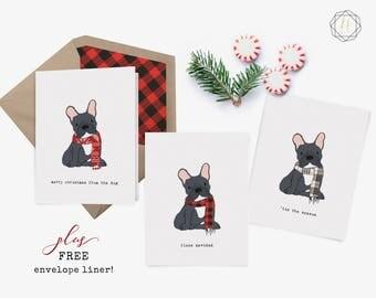 French Bulldog, Black Frenchie, French Bulldog Card, French Bulldog Christmas, French Bulldog Print, Dog Lover Gift, Frenchie Christmas Card
